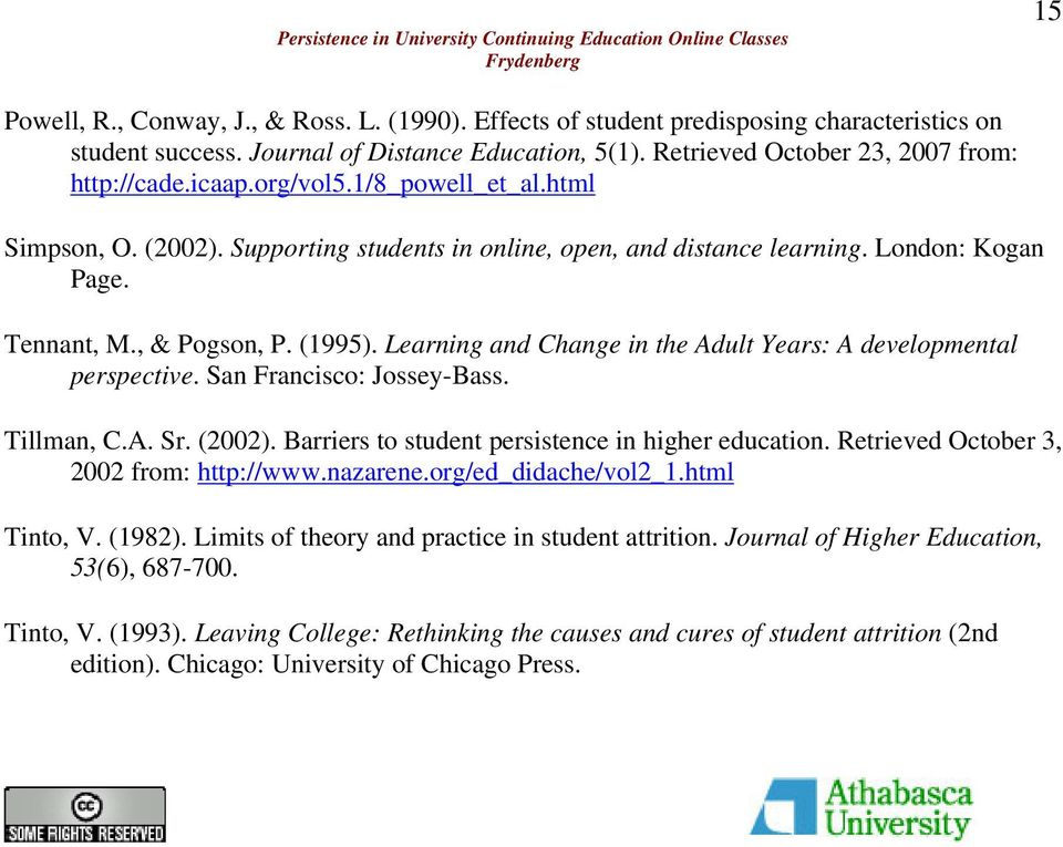 Learning and Change in the Adult Years: A developmental perspective. San Francisco: Jossey-Bass. Tillman, C.A. Sr. (2002). Barriers to student persistence in higher education.