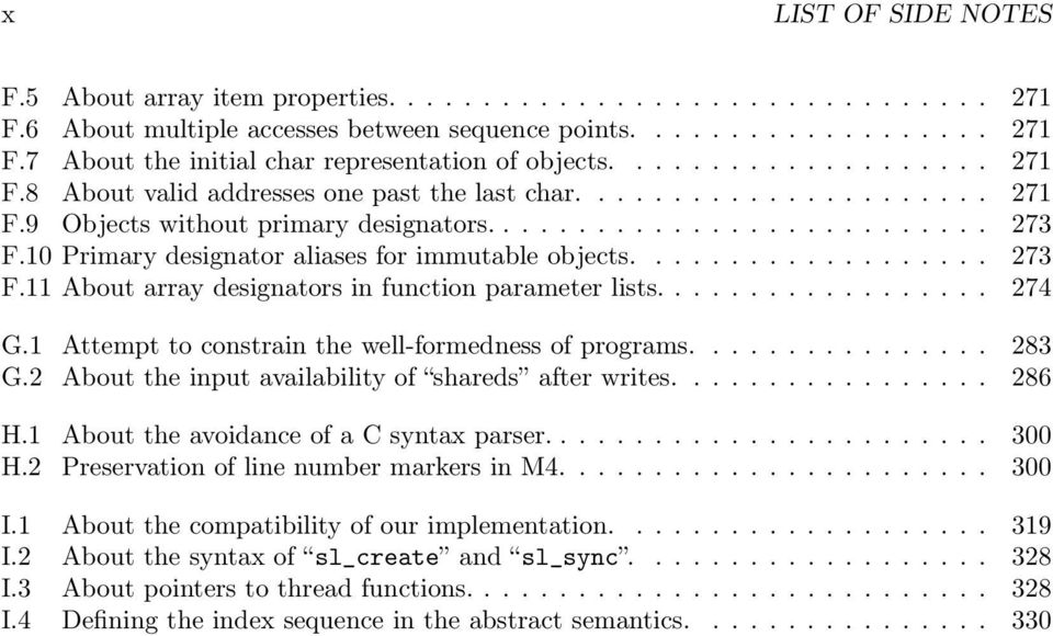 10 Primary designator aliases for immutable objects................... 273 F.11 About array designators in function parameter lists.................. 274 G.