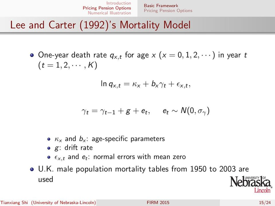 x : age-specific parameters g: drift rate ɛ x,t and e t : normal errors with mean zero U.K.