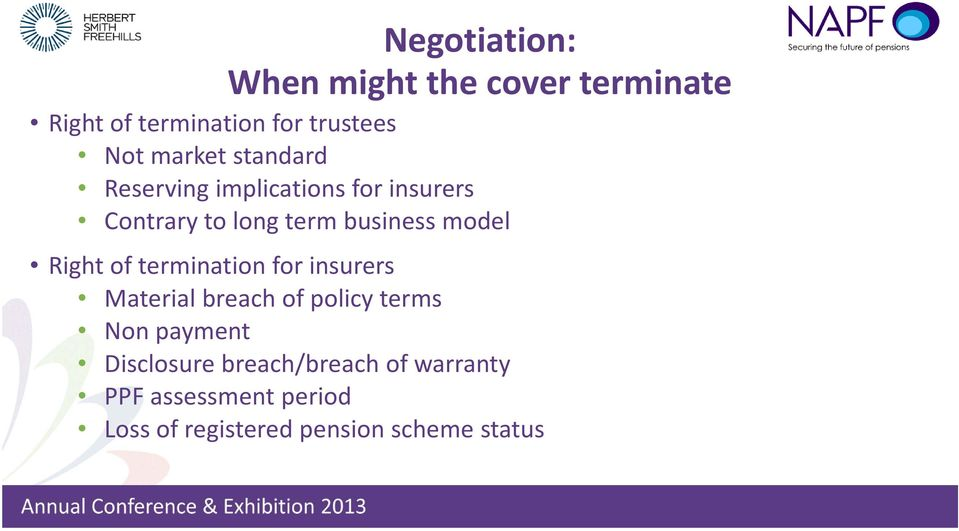 model Right of termination for insurers Material breach of policy terms Non payment