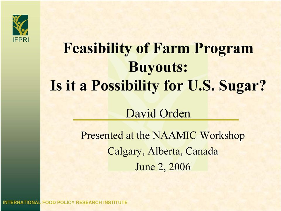 David Orden Presented at the NAAMIC Workshop