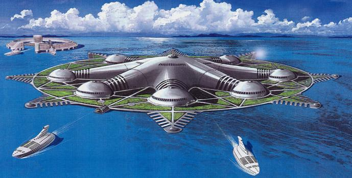 ARTIFICIAL ISLANDS IN THE SEA This artificial island in the sea is designed to serve the oceanographic sciences. Multiple docking and landing facilities for VTOL aircraft surround the entire island.