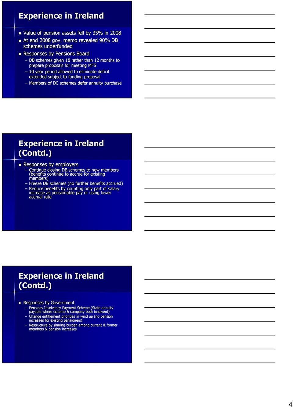 extended subject to funding proposal Members of DC schemes defer annuity purchase Experience in Ireland (Contd.