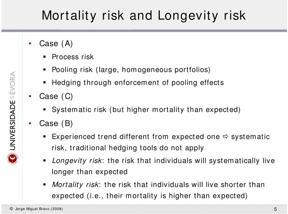 sysemaic risk, radiional hedging ools do no apply Longeviy risk: he risk ha individuals will sysemaically live longer han