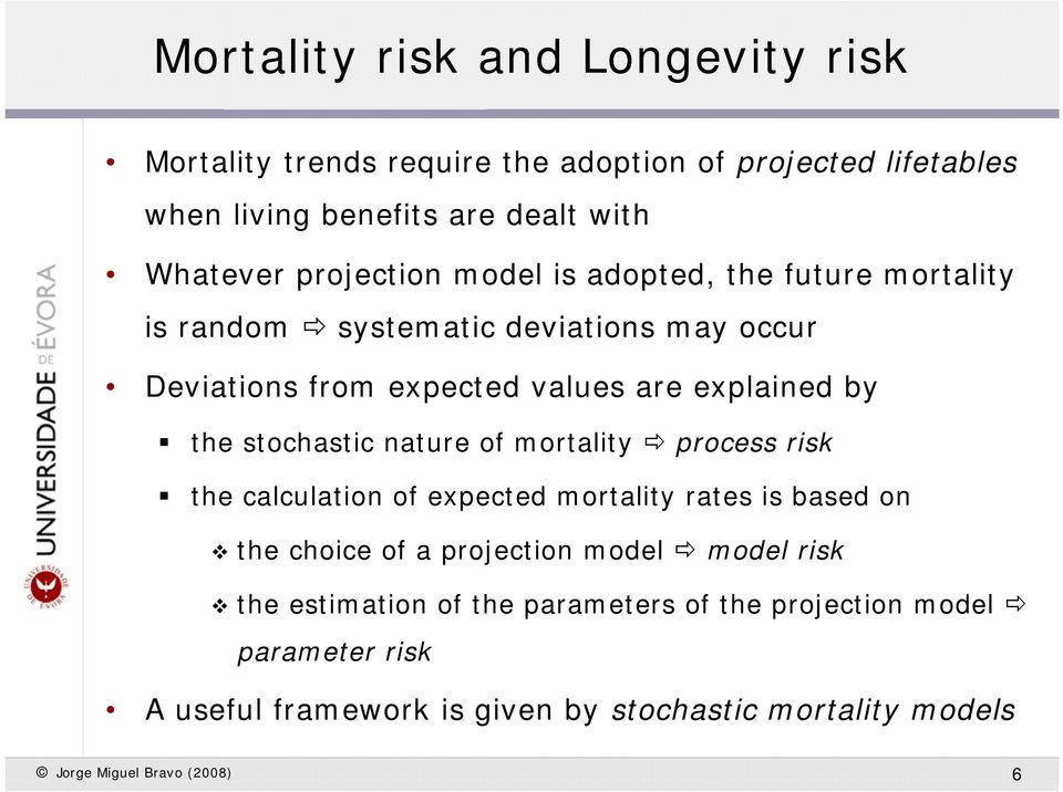 sochasic naure of moraliy process risk he calculaion of expeced moraliy raes is based on he choice of a projecion model model risk he