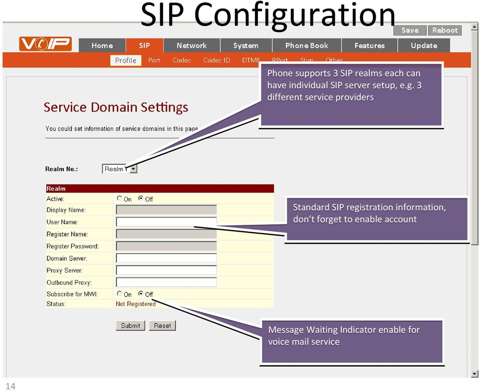 3 different service providers Standard SIP registration