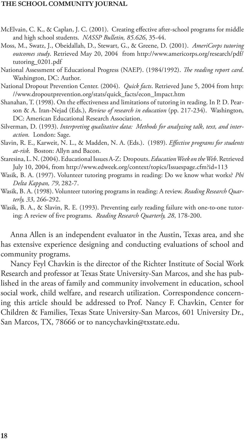 pdf National Assessment of Educational Progress (NAEP). (1984/1992). e reading report card. Washington, DC: Author. National Dropout Prevention Center. (2004). Quick facts.