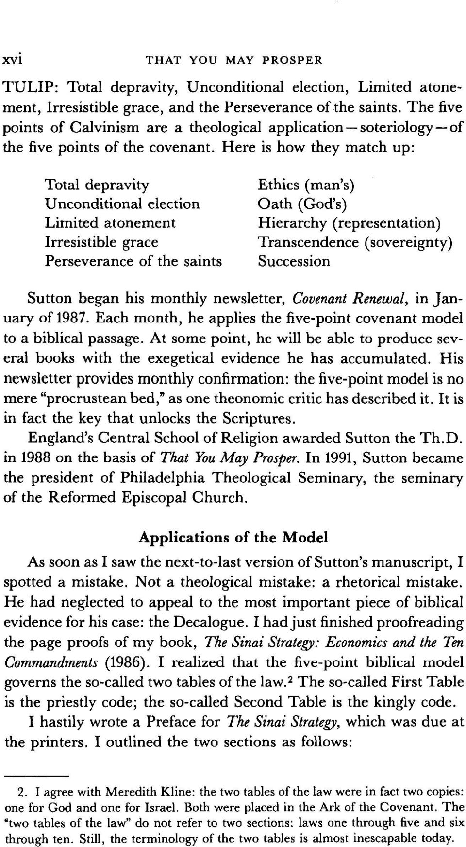 Here is how they match up: Total depravity Unconditional election Limited atonement Irresistible grace Perseverance of the saints Ethics (man's) Oath (God's) Hierarchy (representation) Transcendence