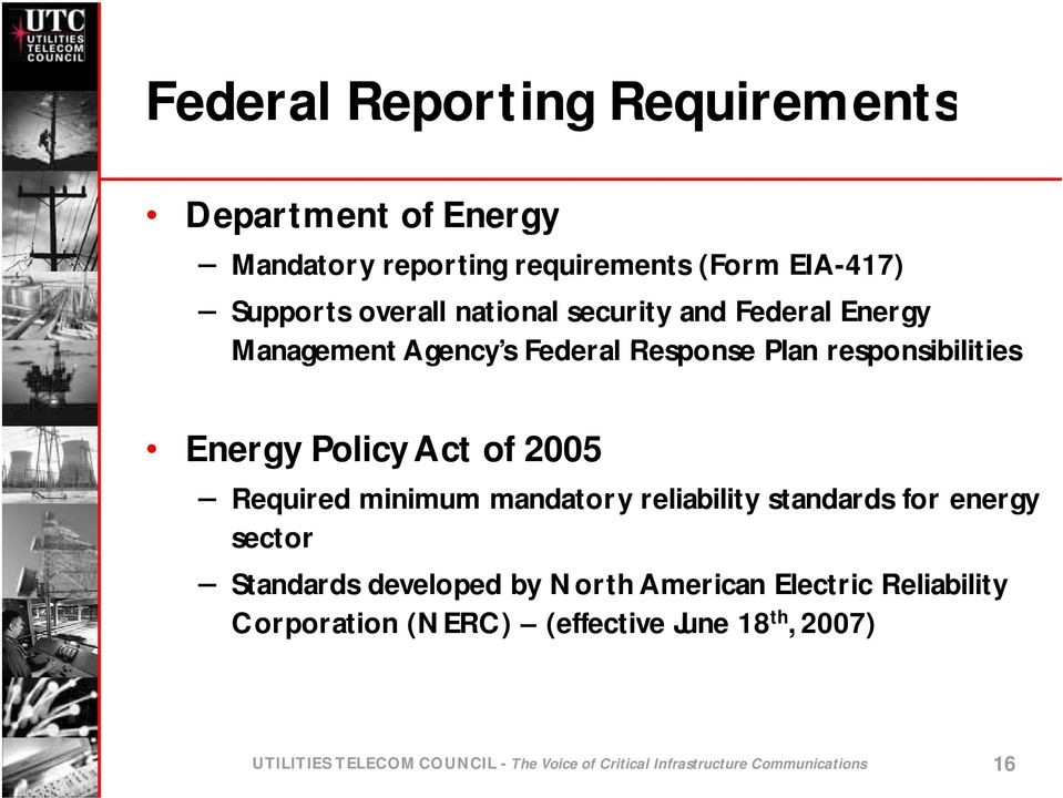 Required minimum mandatory reliability standards for energy sector Standards developed by North American Electric