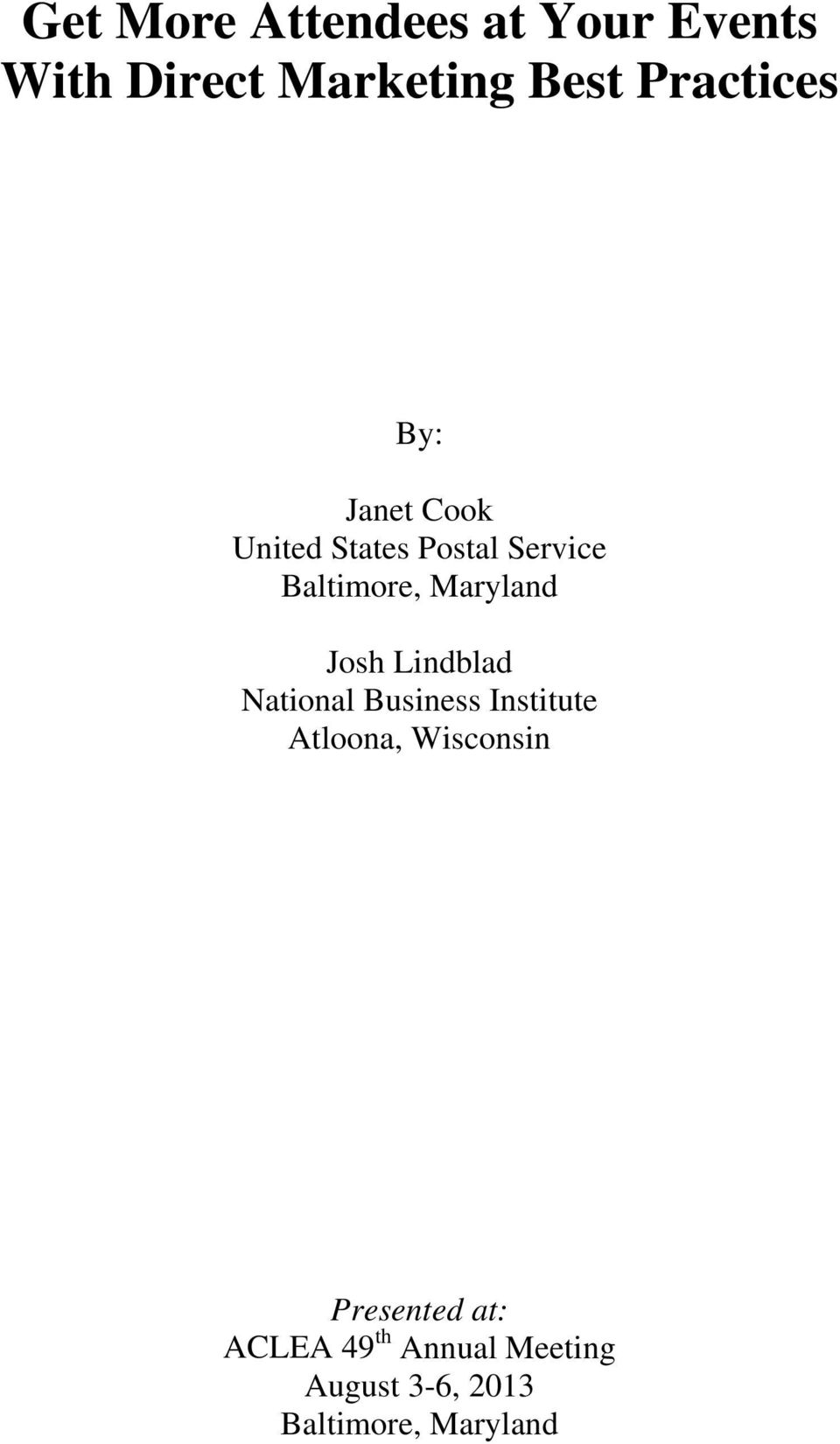 Maryland Josh Lindblad National Business Institute Atloona,