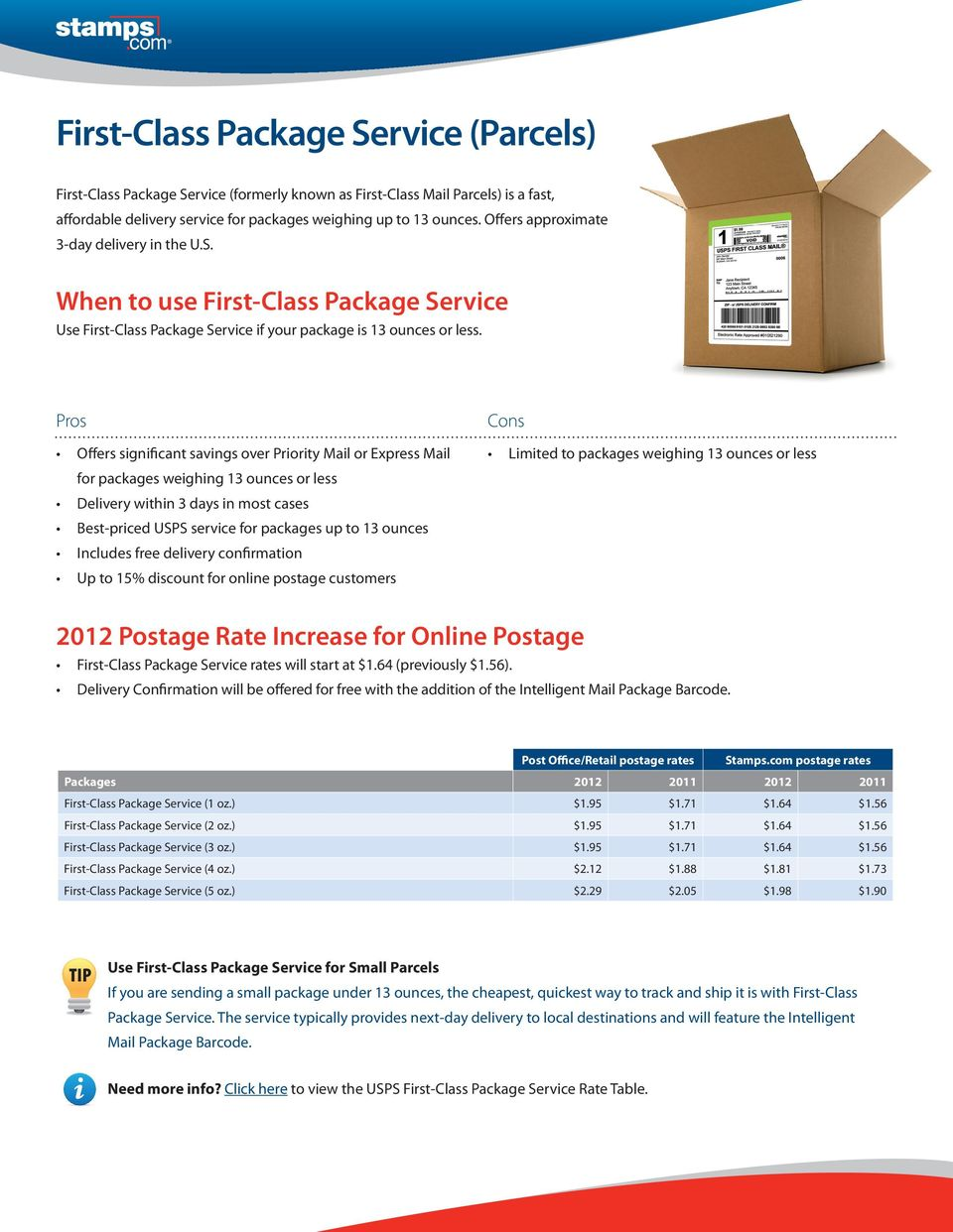 Offers significant savings over Priority Mail or Express Mail for packages weighing 13 ounces or less Delivery within 3 days in most cases Best-priced USPS service for packages up to 13 ounces