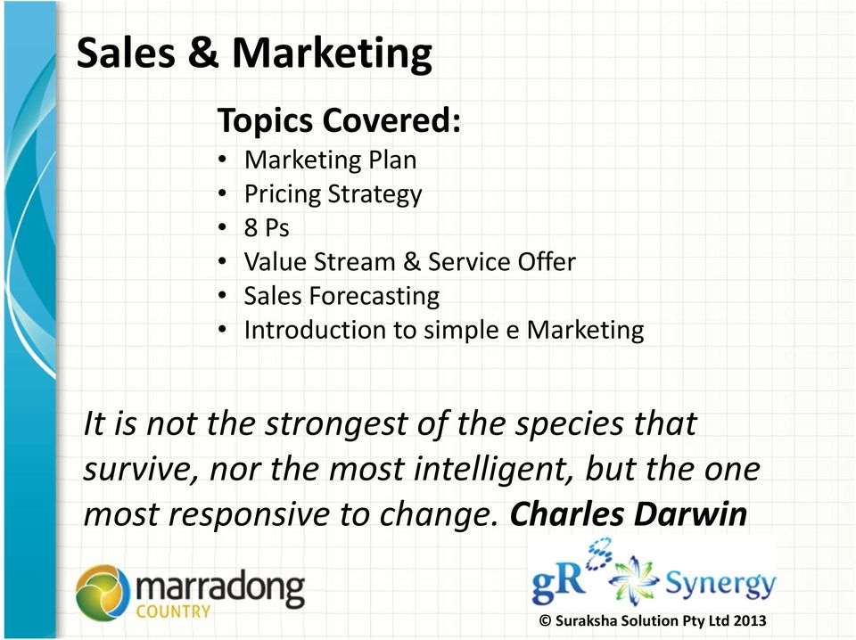 Marketing It is not the strongest of the species that survive, nor the