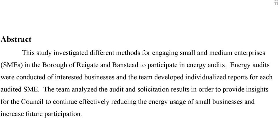 Energy audits were conducted of interested businesses and the team developed individualized reports for each audited SME.