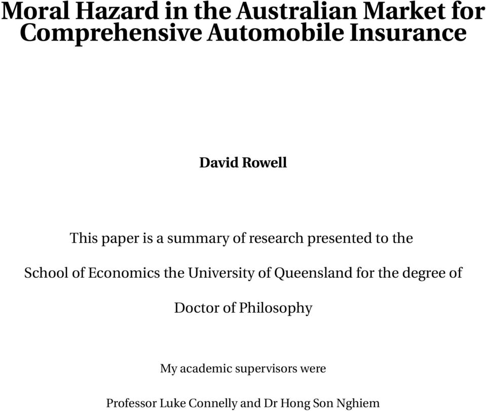 Economics the University of Queensland for the degree of Doctor of