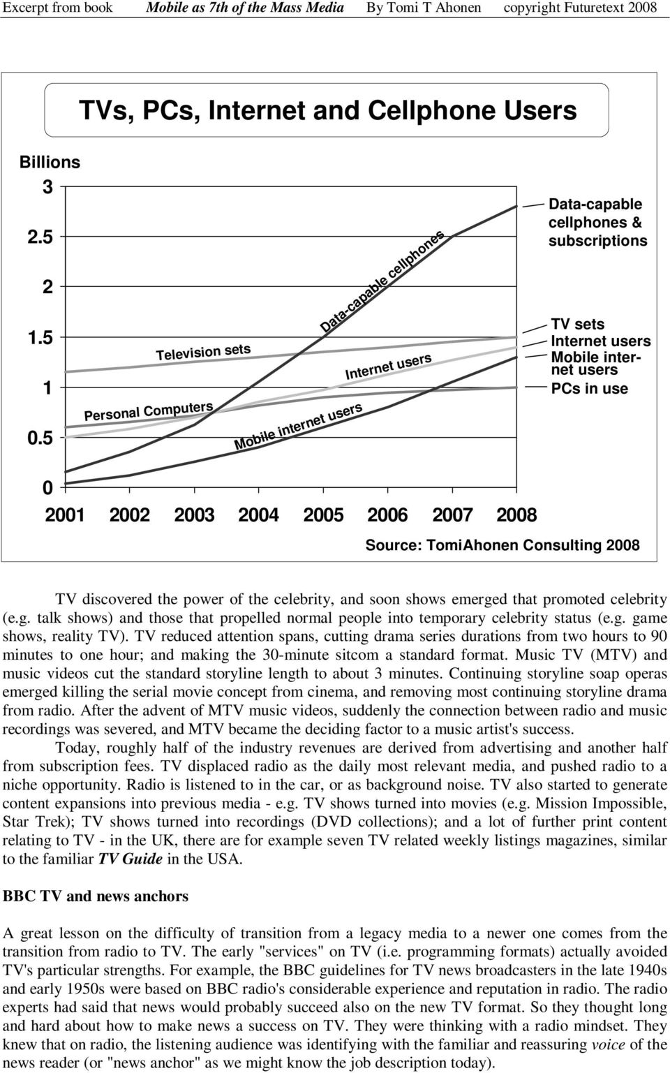 2001 2002 2003 2004 2005 2006 2007 2008 Source: TomiAhonen Consulting 2008 TV discovered the power of the celebrity, and soon shows emerged that promoted celebrity (e.g. talk shows) and those that propelled normal people into temporary celebrity status (e.