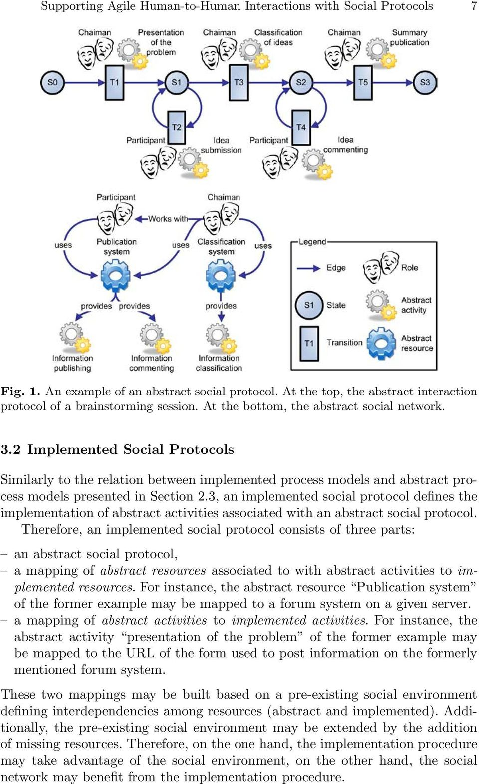 3, an implemented social protocol defines the implementation of abstract activities associated with an abstract social protocol.
