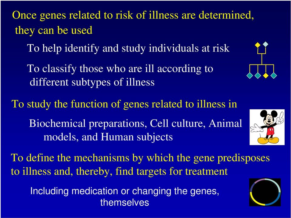 illness in Biochemical preparations, Cell culture, Animal models, and Human subjects To define the mechanisms by which