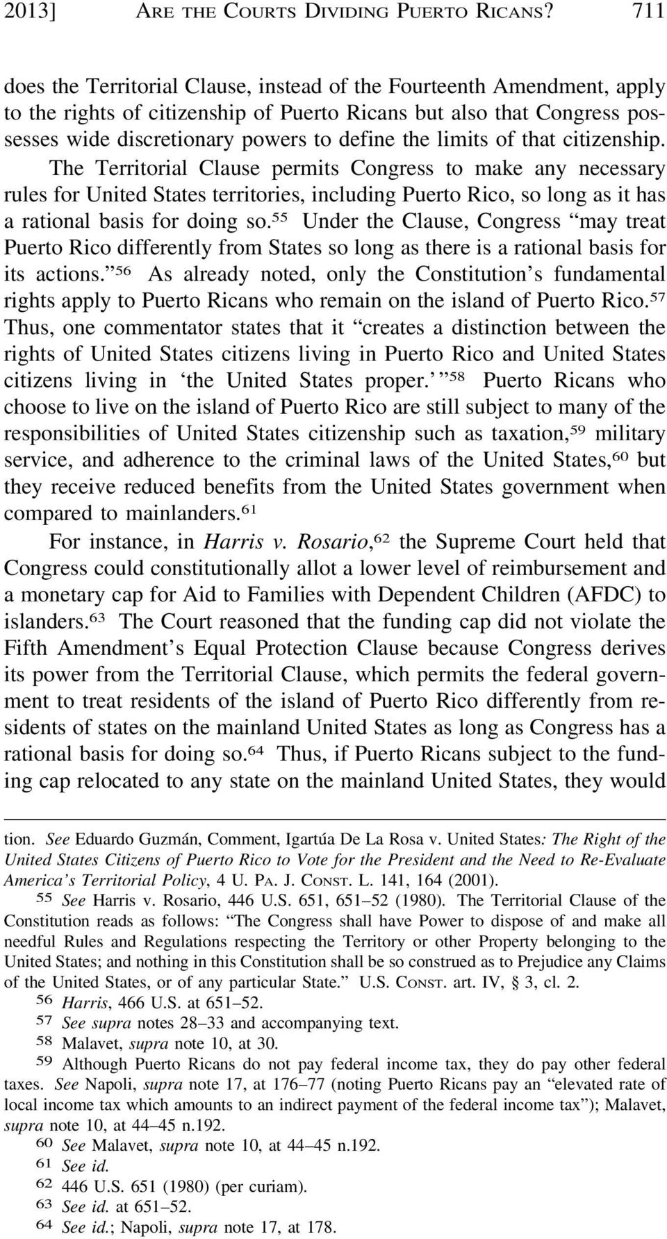 limits of that citizenship. The Territorial Clause permits Congress to make any necessary rules for United States territories, including Puerto Rico, so long as it has a rational basis for doing so.