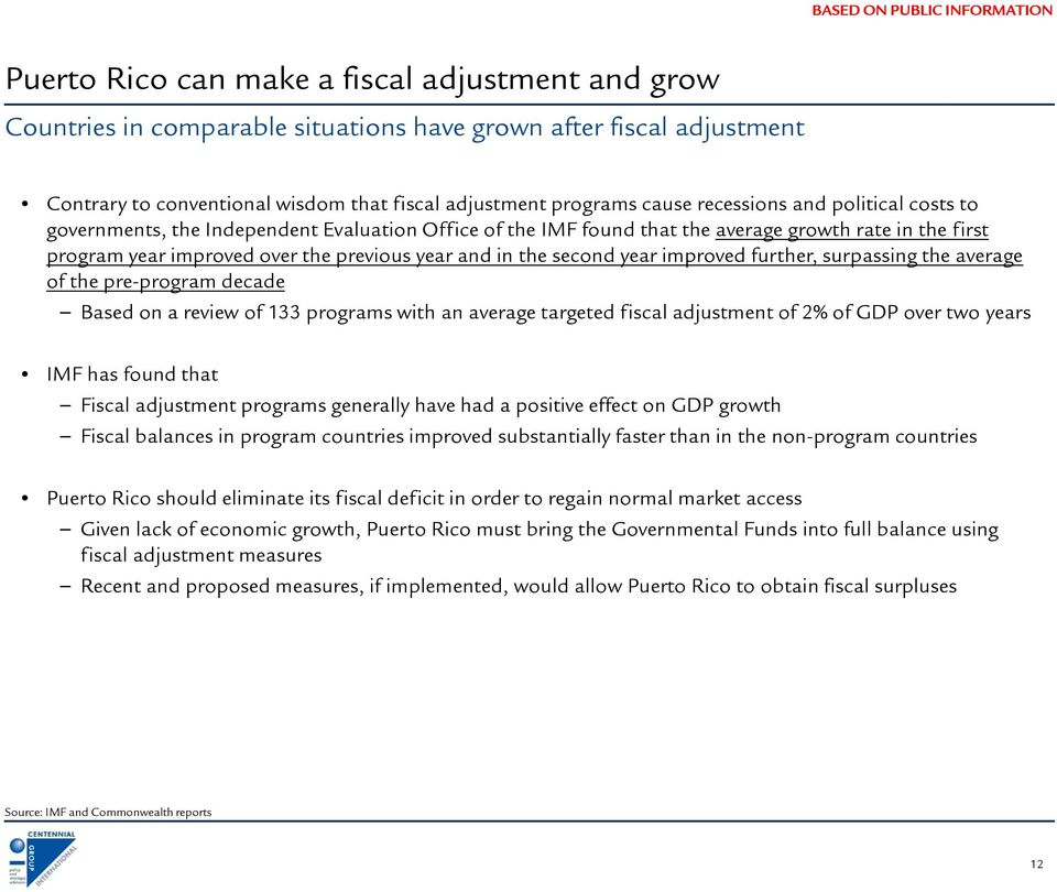 second year improved further, surpassing the average of the pre-program decade Based on a review of 133 programs with an average targeted fiscal adjustment of 2% of GDP over two years IMF has found