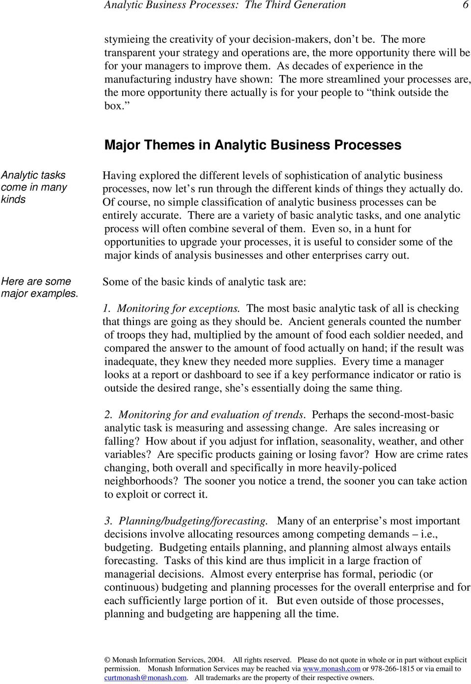 Major Themes in Analytic Business Processes Analytic tasks come in many kinds Here are some major examples.