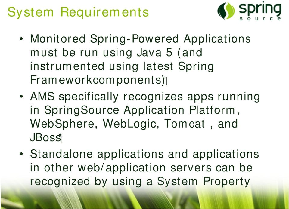running in SpringSource Application Platform, WebSphere, WebLogic, Tomcat, and JBoss