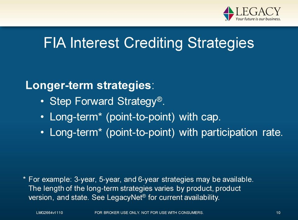 * For example: 3-year, 5-year, and 6-year strategies may be available.