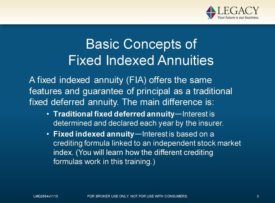 The main difference is: Traditional fixed deferred annuity Interest is determined and declared each year by the insurer.