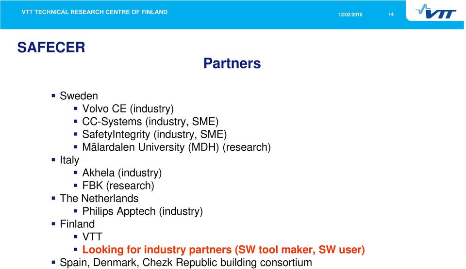 (industry) FBK (research) The Netherlands Philips Apptech (industry) Finland VTT