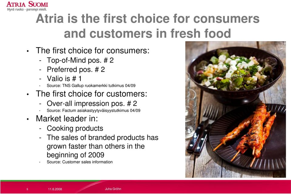 # 2 - Valio is # 1 - Source: TNS Gallup ruokamerkki tutkimus 04/09 The first choice for customers: - Over-all impression