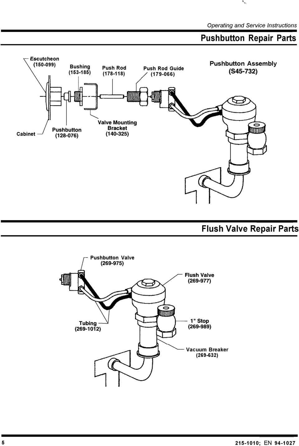 (178-118) / (179-066) Pushbutton Assembly (S45732) Cabinet Flush Valve