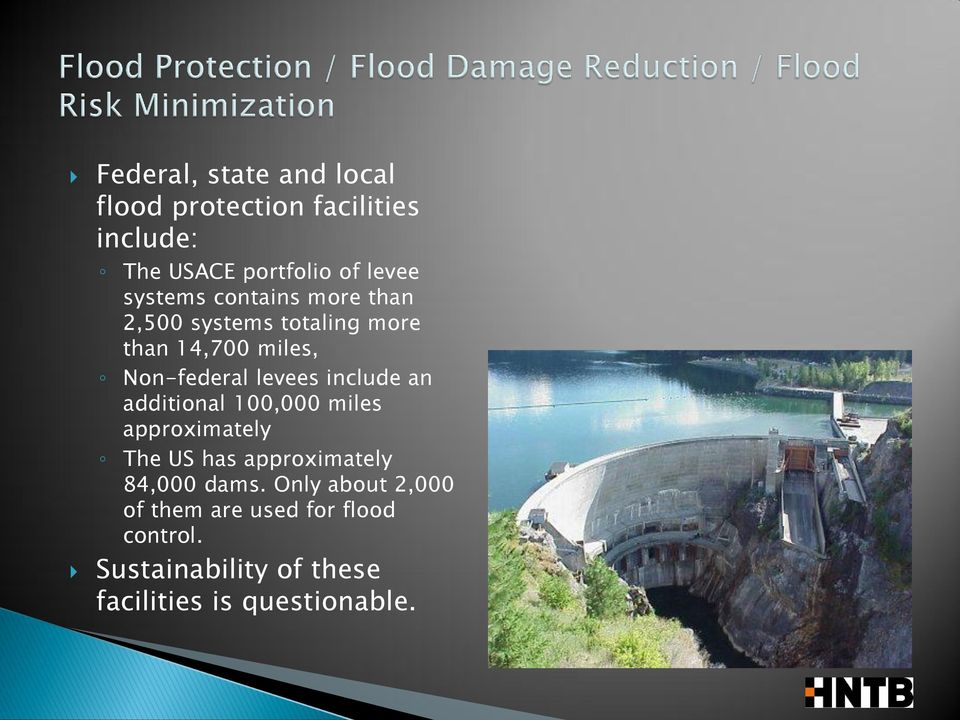 include an additional 100,000 miles approximately The US has approximately 84,000 dams.