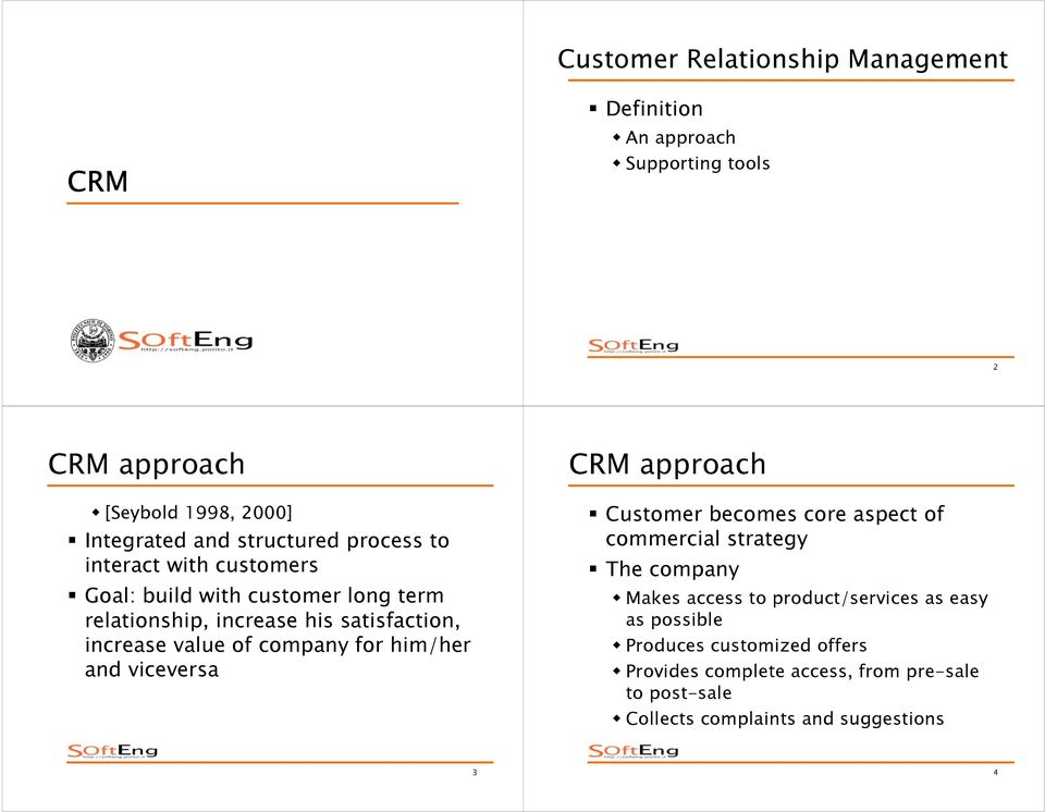 of company for him/her and viceversa CRM approach Customer becomes core aspect of commercial strategy The company Makes access to