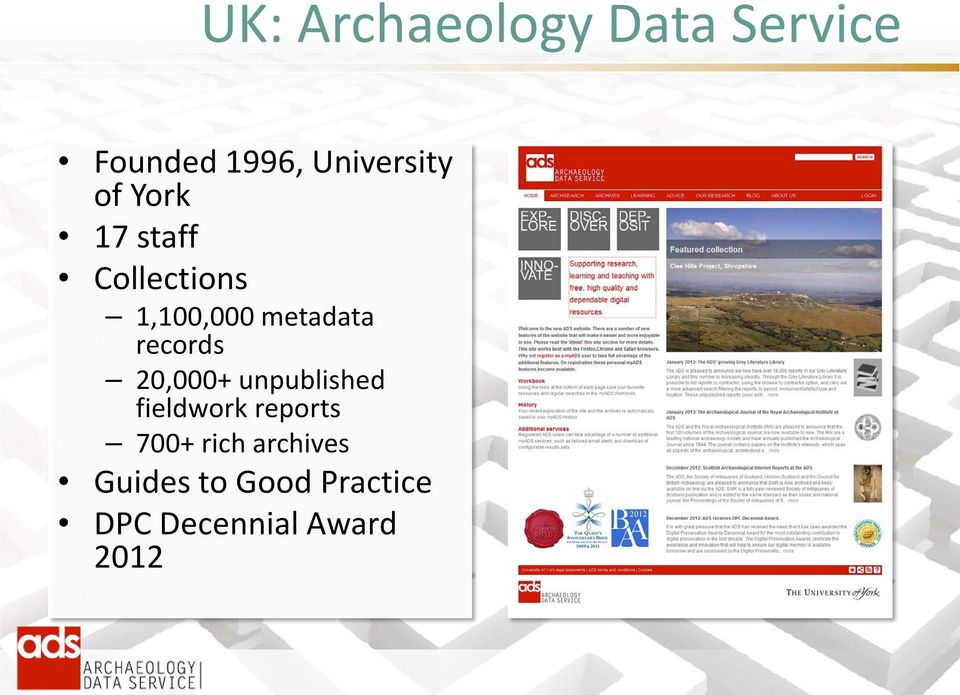 records 20,000+ unpublished fieldwork reports 700+