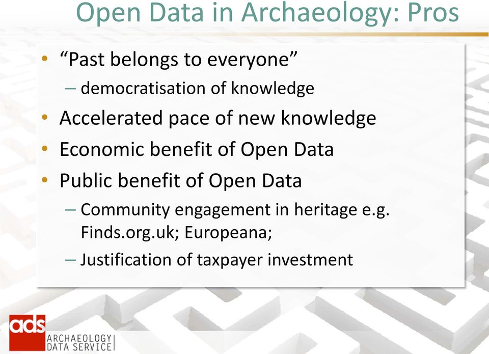Economic benefit of Open Data Public benefit of Open Data Community