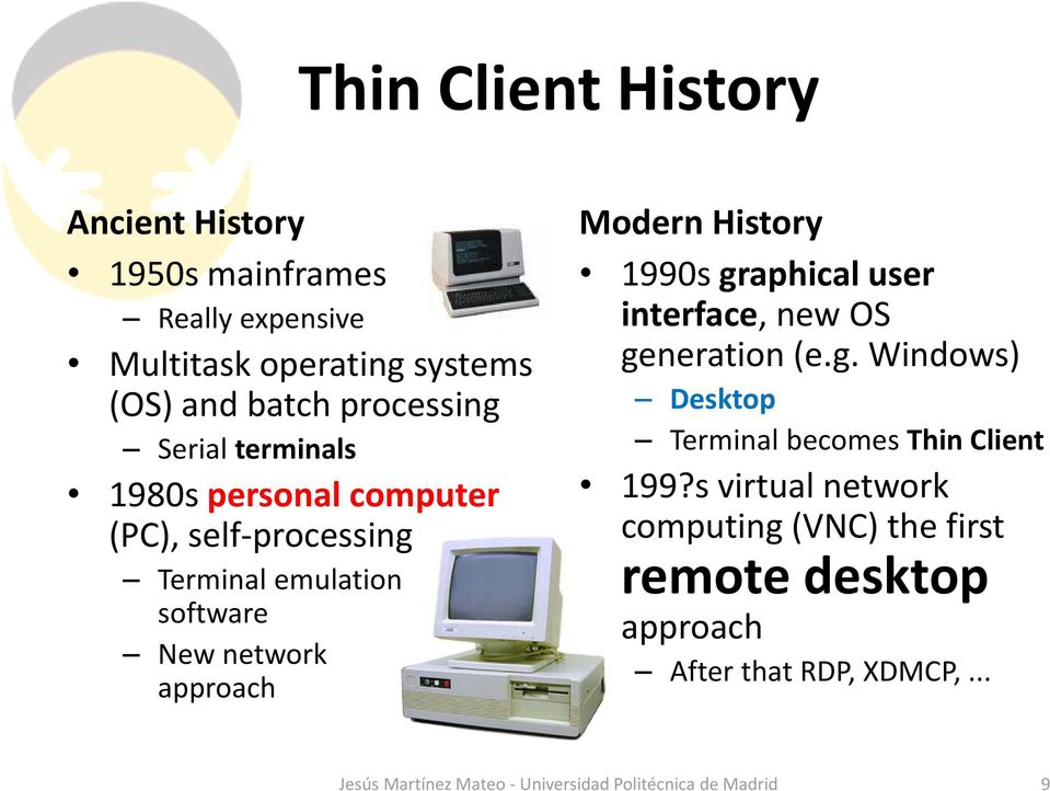 1990s graphical user interface, new OS generation (e.g. Windows) Desktop Terminal becomes Thin Client 199?