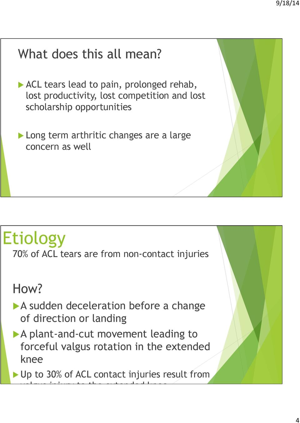 term arthritic changes are a large concern as well Etiology 70% of ACL tears are from non-contact injuries How?