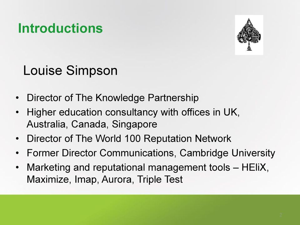 The World 100 Reputation Network Former Director Communications, Cambridge