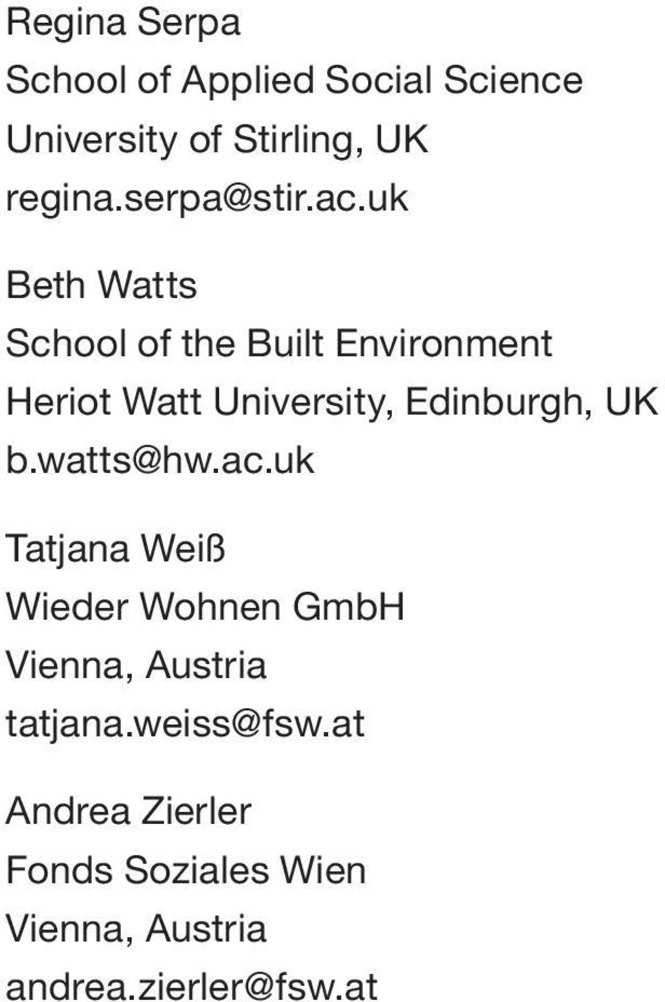 uk Beth Watts School of the Built Environment Heriot Watt University, Edinburgh, UK