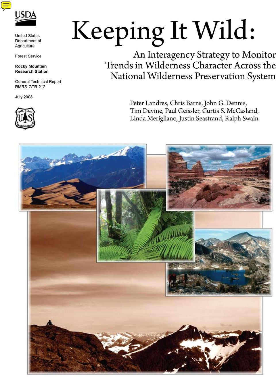 Wilderness Character Across the National Wilderness Preservation System Peter Landres, Chris Barns,
