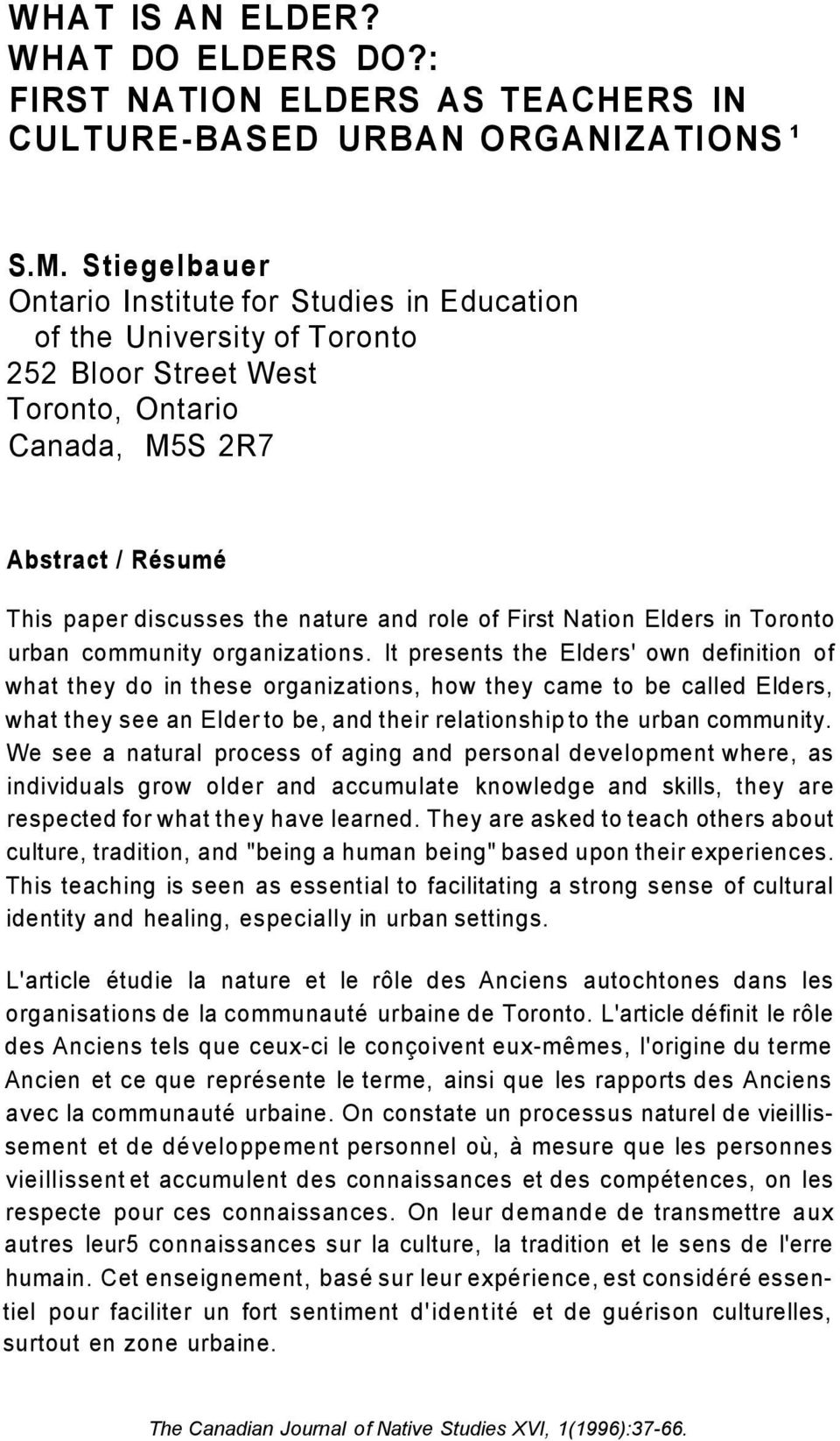 of First Nation Elders in Toronto urban community organizations.