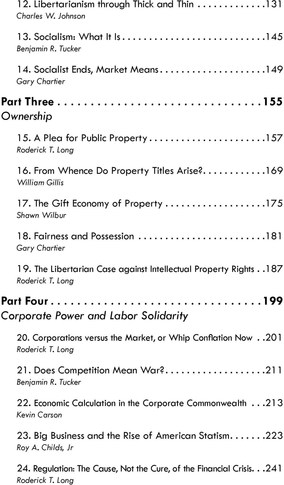 Fairness and Possession... 181 Gary Chartier 19. The Libertarian Case against Intellectual Property Rights. 187 Roderick T. Long Part Four... 199 Corporate Power and Labor Solidarity 20.