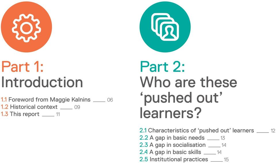 3 This report _ 11 Part 2: Who are these pushed out learners? 2.1 Characteristics of pushed out learners _ 12 2.