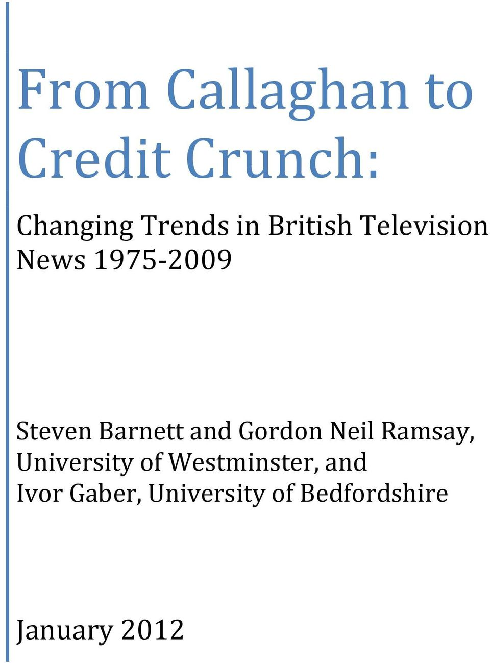and Gordon Neil Ramsay, University of Westminster,