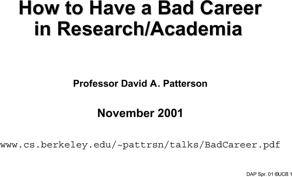 Patterson November 2001 www.cs.