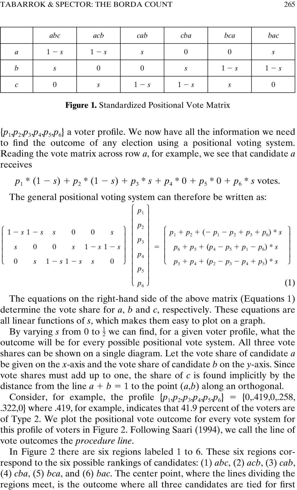 Reading the vote matrix across row a, for example, we see that candidate a receives p 1 * (1 s) p 2 * (1 s) p 3 * s p 4 * 0 p 5 * 0 p 6 * s votes.