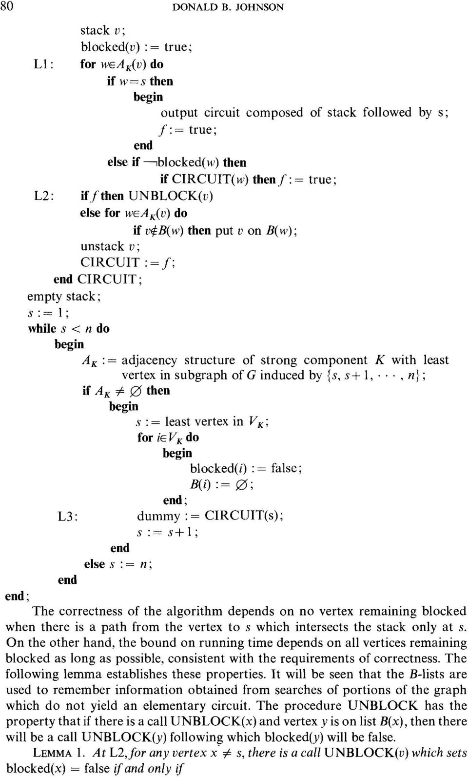 UNBLOCK(v) else for wa:(v) do if vqb(w) then put v on B(w); unstack v; CIRCUIT := f; end CIRCUIT; empty stack; s:=l; while s < n do A:= adjacency structure of strong component K with least if A -