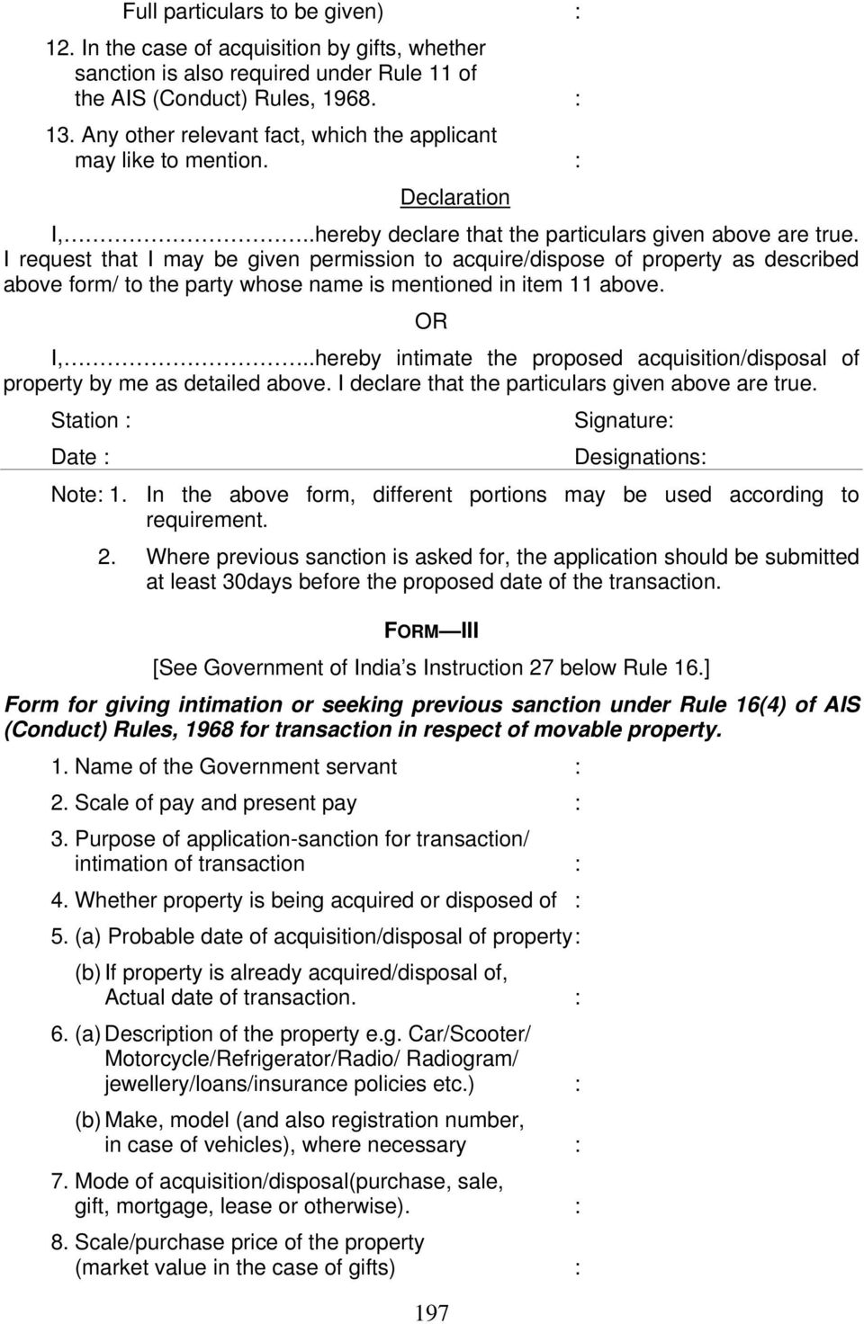 I request that I may be given permission to acquire/dispose of property as described above form/ to the party whose name is mentioned in item 11 above. OR I,.