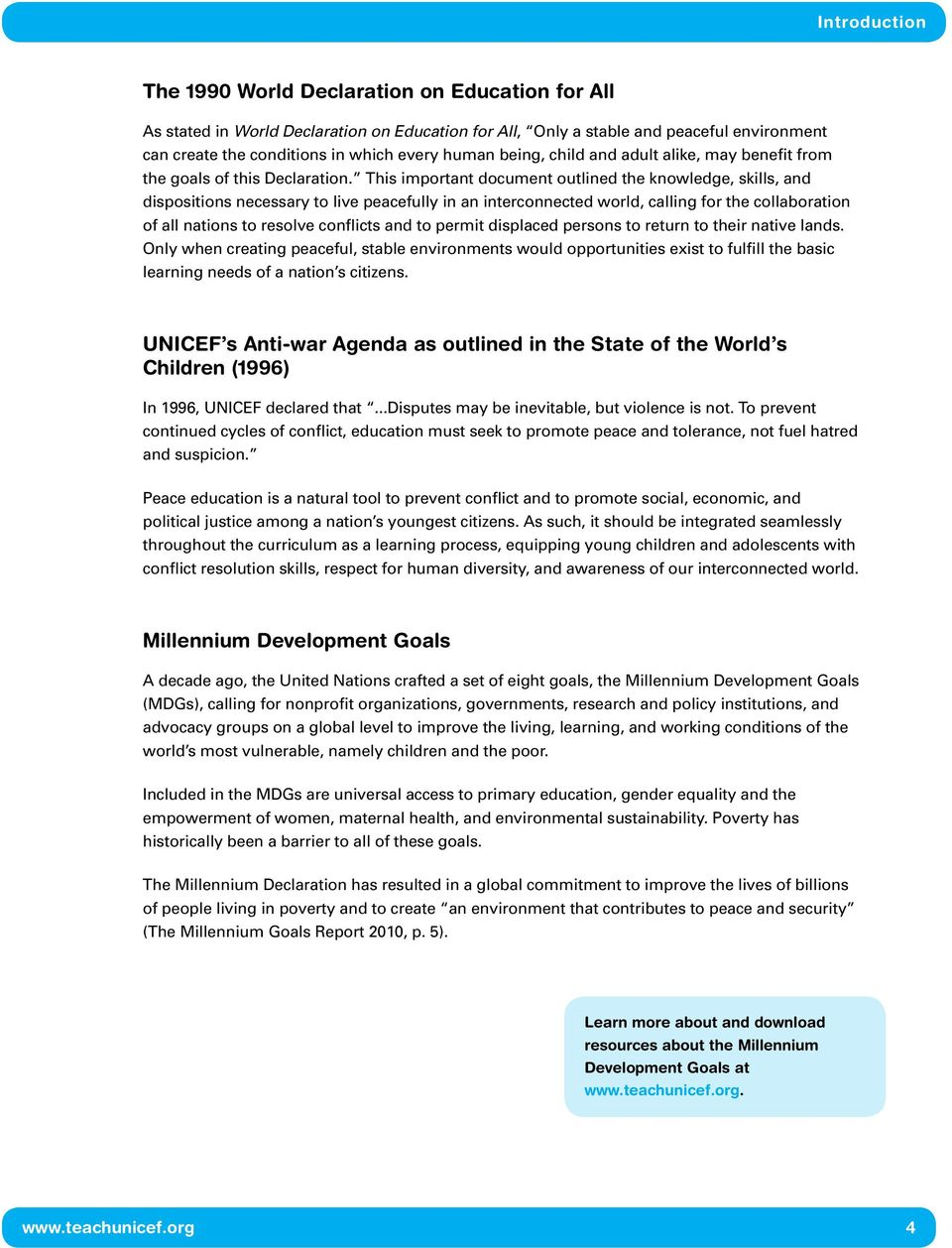 This important document outlined the knowledge, skills, and dispositions necessary to live peacefully in an interconnected world, calling for the collaboration of all nations to resolve conflicts and