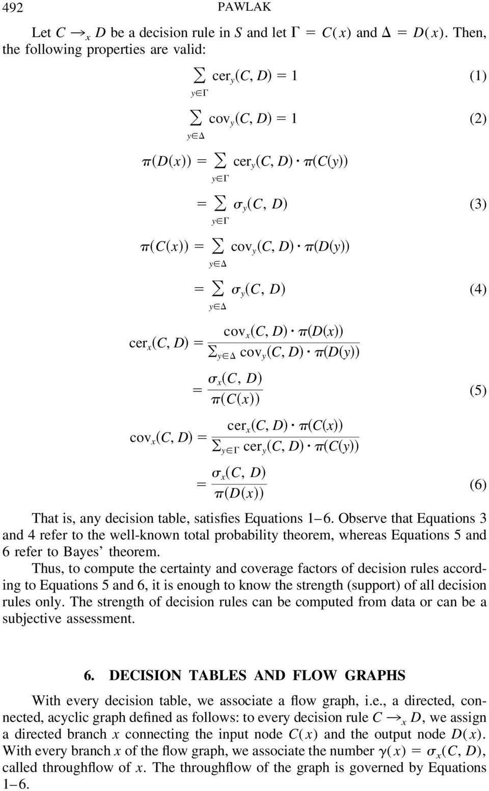 x cov x C, D cer x C, D C x y cer y C, D C y x C, D (6) D x That is, any decision table, satisfies Equations 1 6.