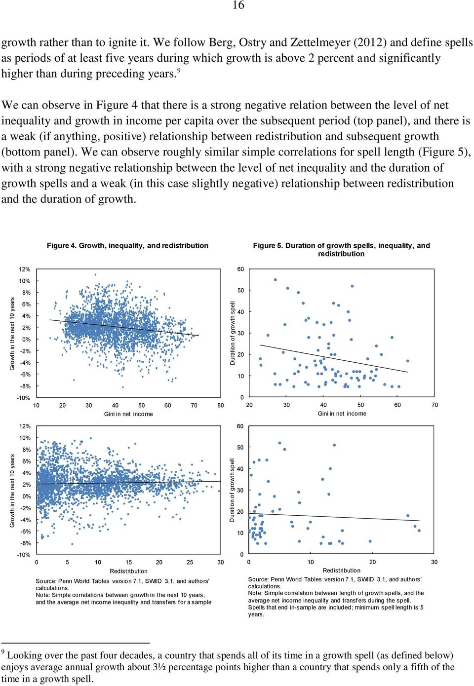9 We can observe in Figure 4 that there is a strong negative relation between the level of net inequality and growth in income per capita over the subsequent period (top panel), and there is a weak
